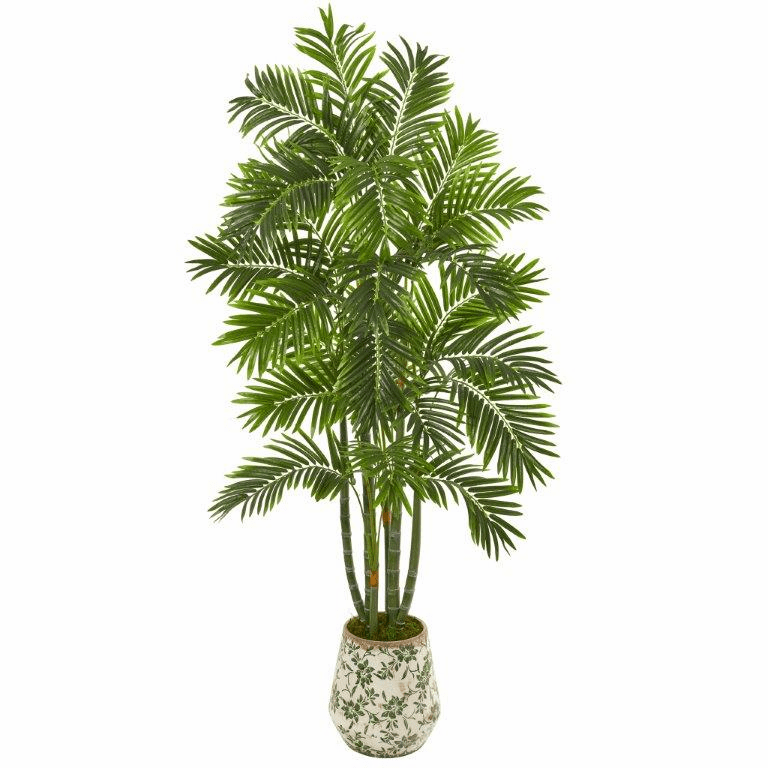 6� Areca Palm Artificial Tree in Vintage Green Floral Planter -