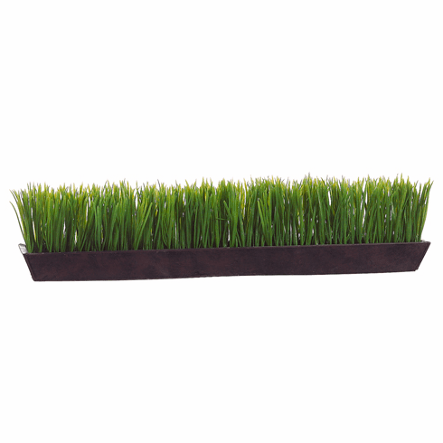 "6"" Artificial Grass Ledge Arragement in Rectangular Tin Planter - Set of 2"