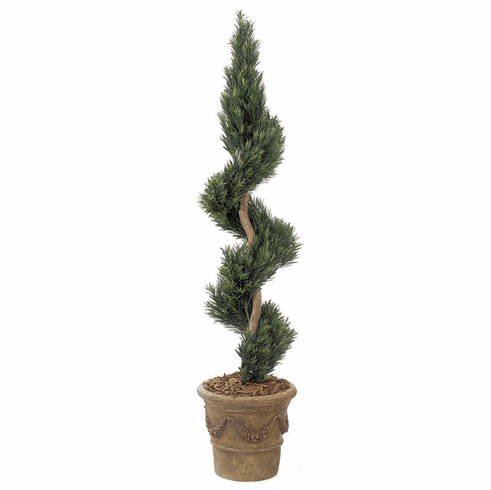 6' Artificial Podocarpus Spiral Outdoor UV Infused Topiary Plant