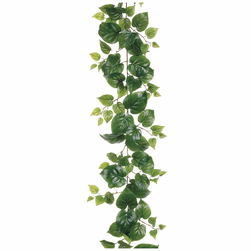 6' Artificial Puff Philodendron Garland w/127 Leaves - Set of 6