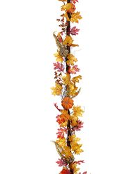 6' Artificial Pumpkin and Fall Leaves Garland Strand- 1 Piece