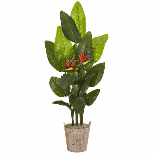 6' Bird of Paradise Artificial Plant in Farmhouse Planter (Real Touch) -