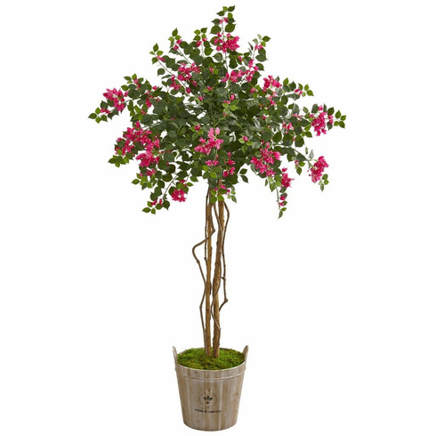 6' Bougainvillea Artificial Tree in Farmhouse Planter