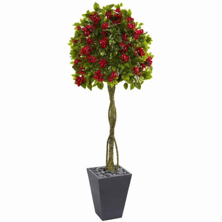 6� Bougainvillea Artificial Tree in Slate Planter