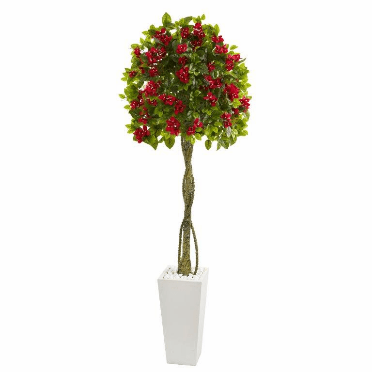 6� Bougainvillea Artificial Tree in White Tower Planter