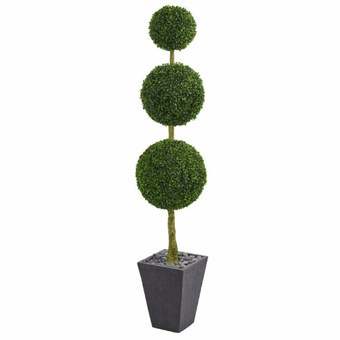 6' Boxwood Triple Ball Topiary Artificial Tree in Slate Planter UV Resistant (Indoor/Outdoor)