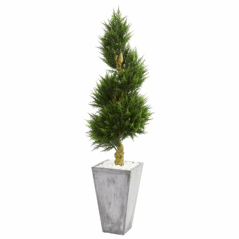 6' Cypress Spiral Artificial Tree in Cement Planter UV Resistant (Indoor/Outdoor)