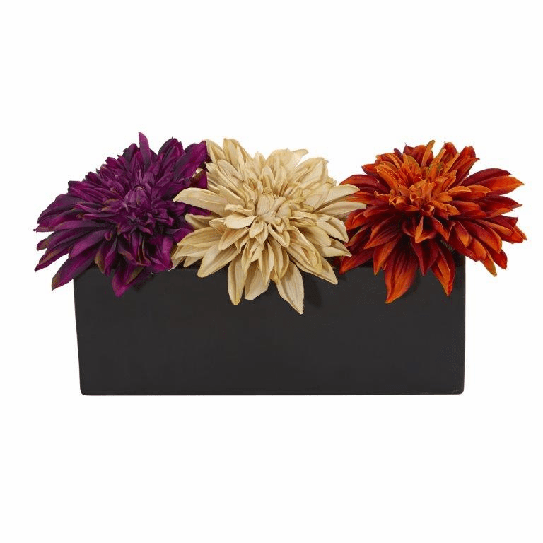"6"" Dahlia Artificial Flower Arrangement in Black Planter - Assorted"