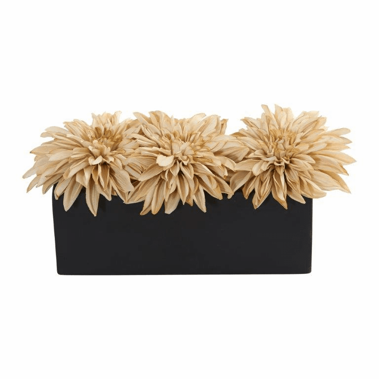 "6"" Dahlia Artificial Flower Arrangement in Black Planter - Cream"