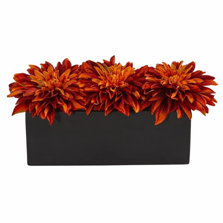 "6"" Dahlia Artificial Flower Arrangement in Black Planter - Orange"