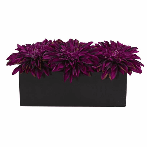 "6"" Dahlia Artificial Flower Arrangement in Black Planter - Purple"