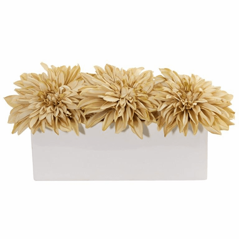 "6"" Dahlia Artificial Flower Arrangement in White Planter - Cream"