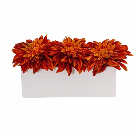 "6"" Dahlia Artificial Flower Arrangement in White Planter - Orange"