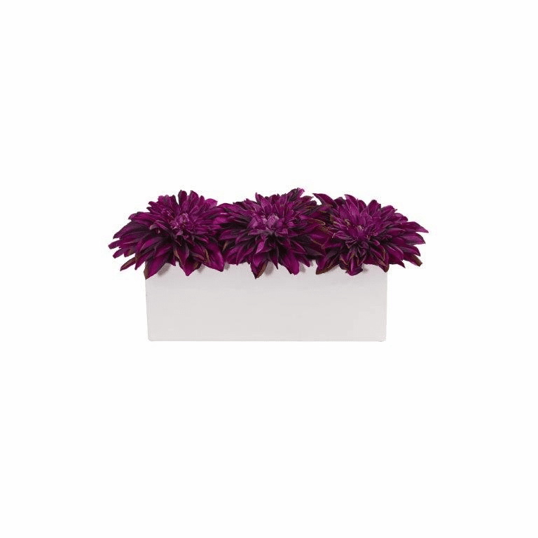 "6"" Dahlia Artificial Flower Arrangement in White Planter - Purple"
