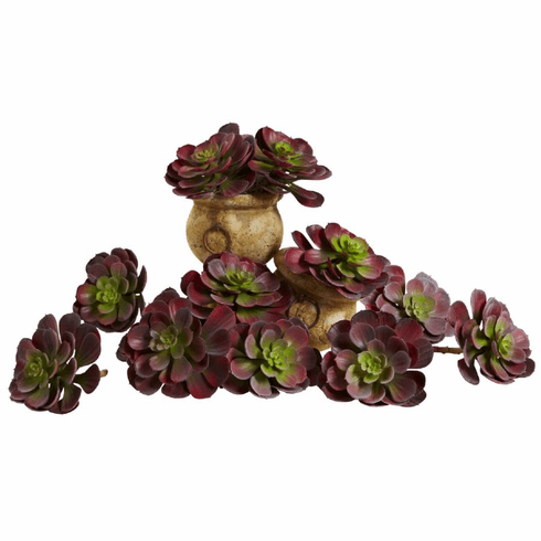 "6"" Echeveria Succulent Artificial Cactus (Set of 12) in Burgundy"