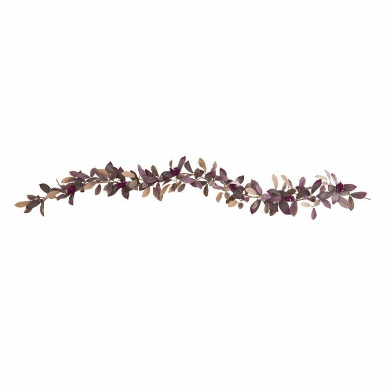 6� Fall Laurel Leaf with Berries Artificial Garland (Set of 2)