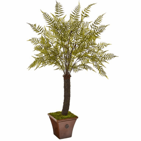 6' Fern Artificial Plant in Brown Planter