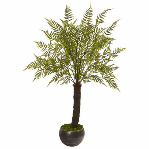 6' Fern Artificial Plant in Decorative Bowl Planter