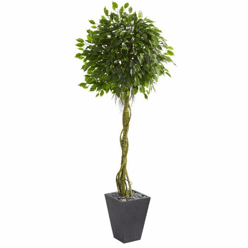 6' Ficus Artificial Tree in Slate Planter UV Resistant (Indoor/Outdoor) -