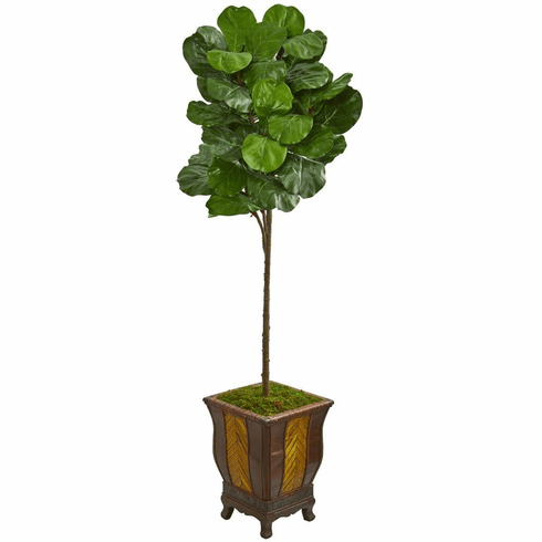 6' Fiddle Leaf Artificial Tree in Decorative Planter