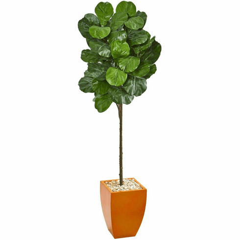 6' Fiddle Leaf Artificial Tree in Orange Planter