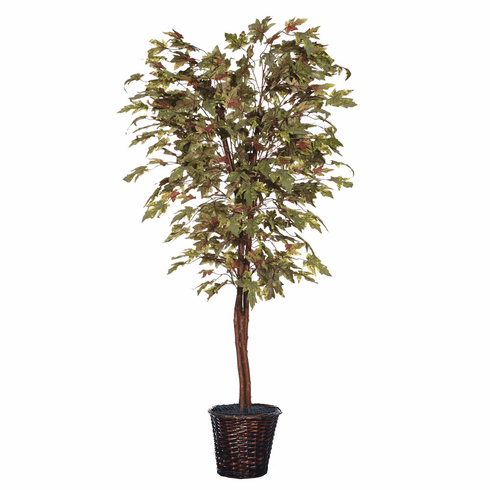 6' Frosted Maple Deluxe Artificial Tree in Willow Basket