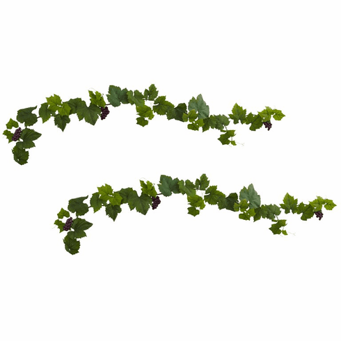 6' Grape Leaf Deluxe Garland w/Grapes (Set of 2)
