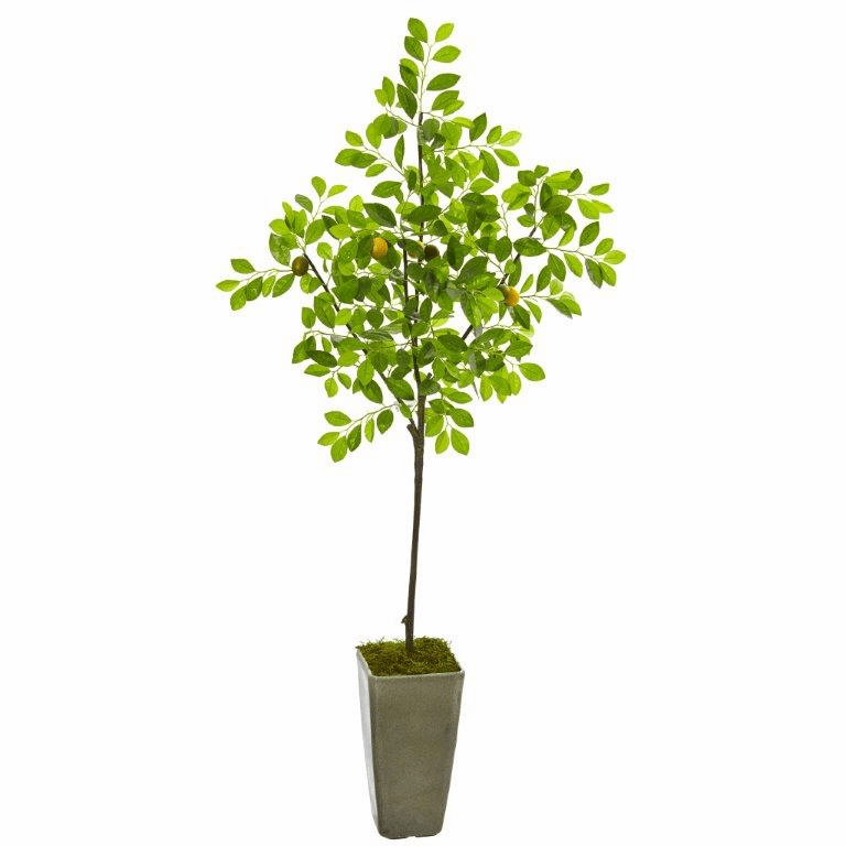 6� Lemon Artificial Tree in Olive Green Planter -
