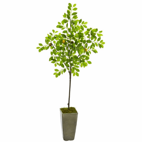 6' Lemon Artificial Tree in Olive Green Planter -