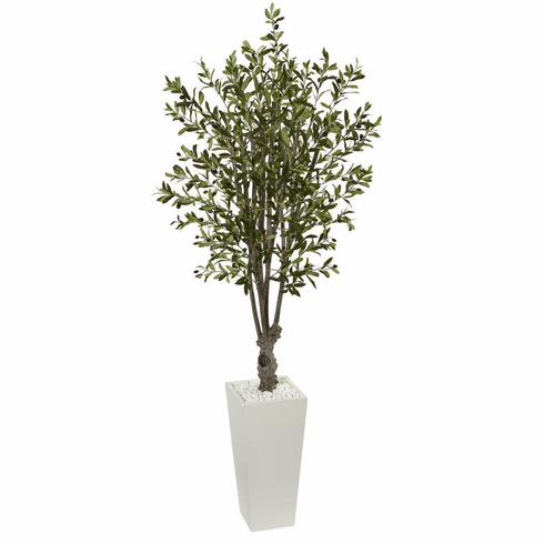 6' Olive Artificial Tree in White Tower Planter