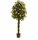 6� Rose Artificial Tree with Woven Trunk