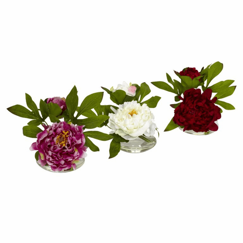 "6"" Silk Peony Artificial Flowee with Glass Vase (Set of 3)"