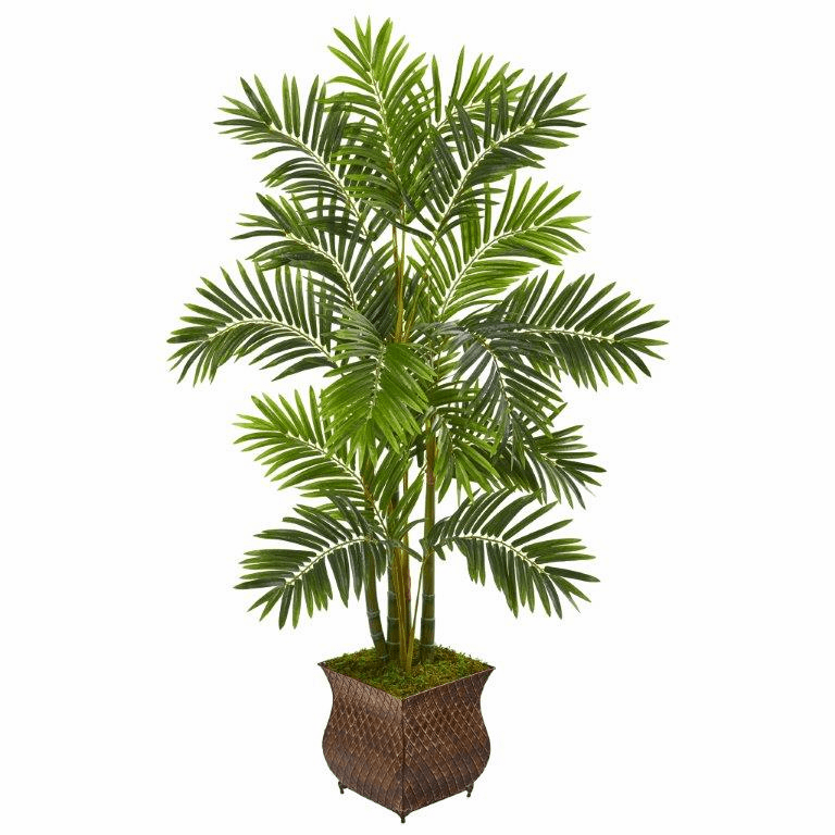 60� Areca Palm Artificial Tree in Metal Planter -