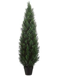 """60"""" Artificial Cedar Topiary in Plastic Pot (knock-Down Packing) - Set of 2"""