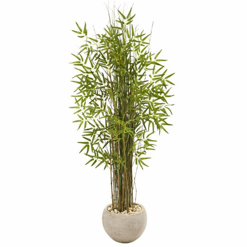 "61"" Grass Artificial Bamboo Plant in Sand Colored Planter -"
