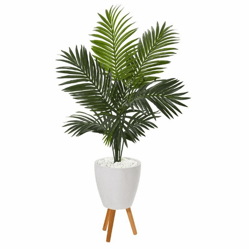 """61"""" Paradise Palm Artificial Tree in White Planter with Stand -"""