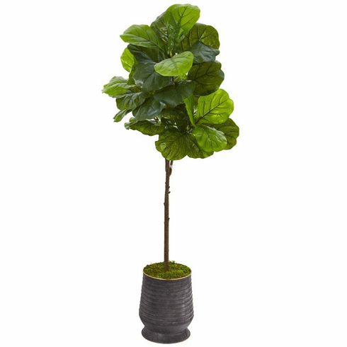 """62"""" Fiddle Leaf Artificial Tree in Ribbed Metal Planter (Real Touch) -"""