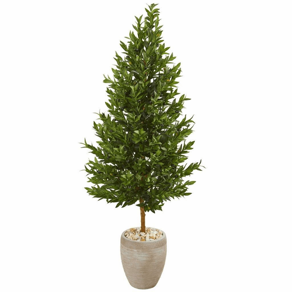 62� Olive Cone Topiary Artificial Tree in Sand Colored Planter UV Resistant (Indoor/Outdoor)