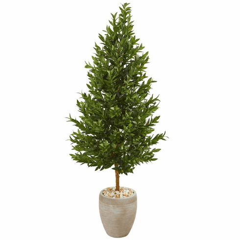 """62"""" Olive Cone Topiary Artificial Tree in Sand Colored Planter UV Resistant (Indoor/Outdoor)"""