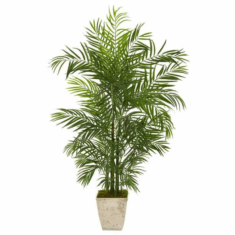 63� Areca Artificial Palm Tree in Country White Planter UV Resistant (Indoor/Outdoor) -