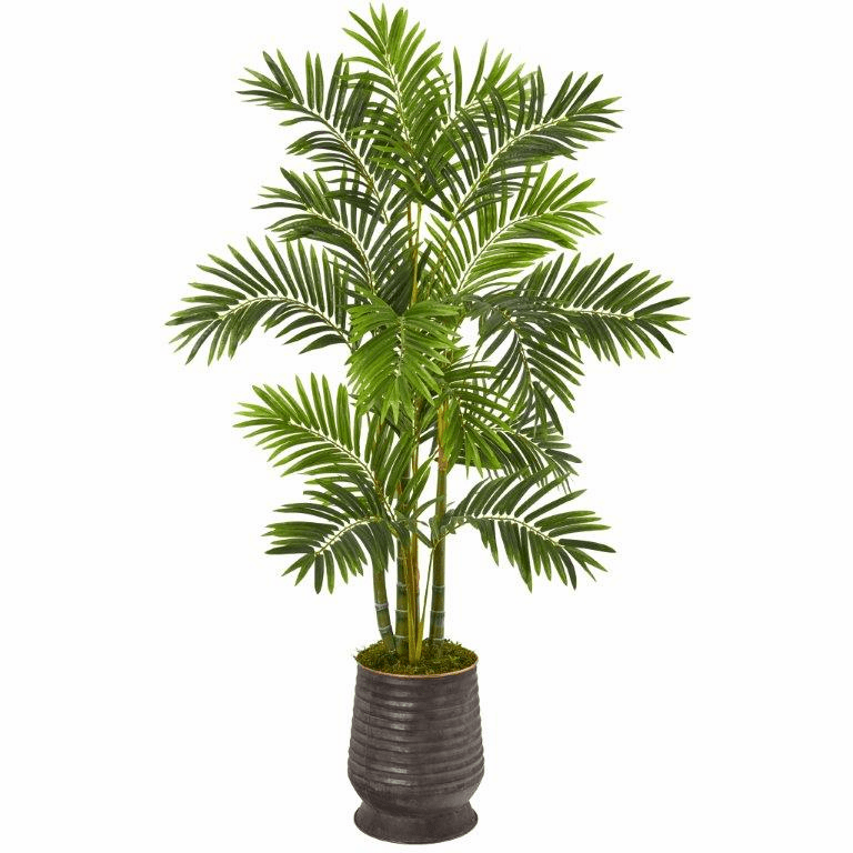 63� Areca Palm Artificial Tree in Ribbed Metal Planter -