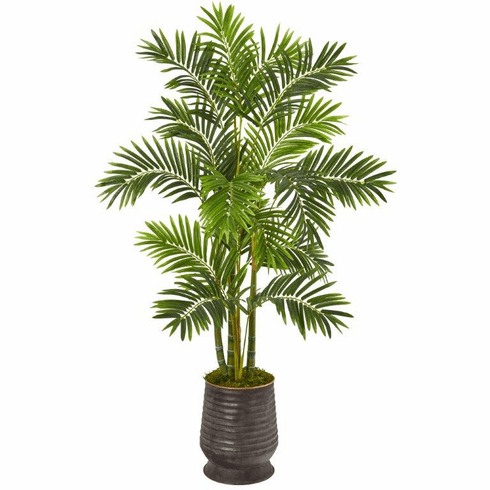 """63"""" Areca Palm Artificial Tree in Ribbed Metal Planter -"""