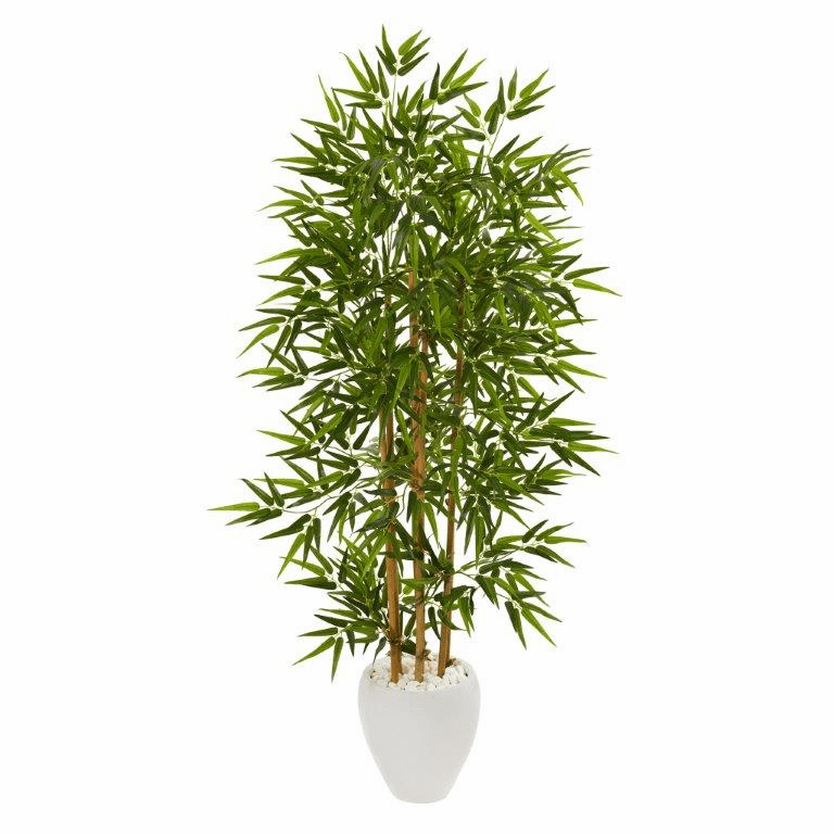 63� Bamboo Artificial Tree in White Planter -