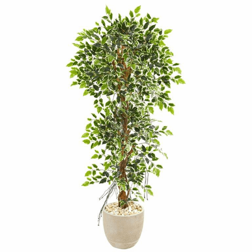 "63"" Elegant Ficus Artificial Tree in Sandstone Planter"