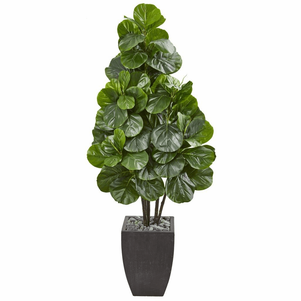 63� Fiddle Leaf Fig Artificial Tree in Black Planter