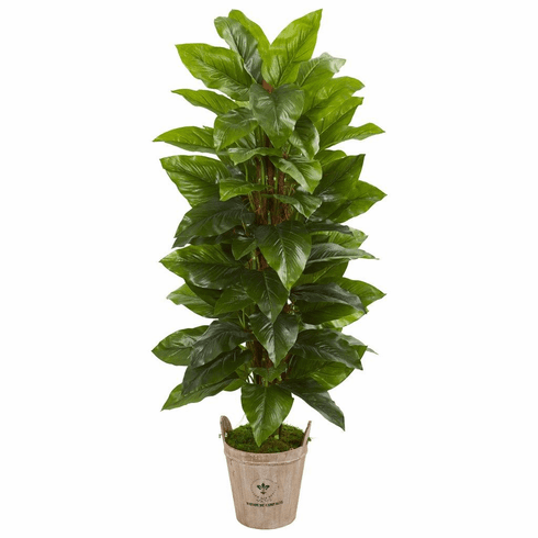 """63"""" Large Leaf Philodendron Artificial Plant in Farmhouse Planter (Real Touch)"""