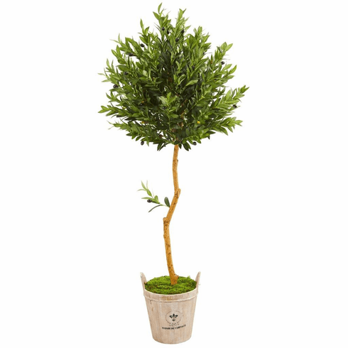 "63"" Olive Topiary Artificial Tree in Farmhouse Planter"