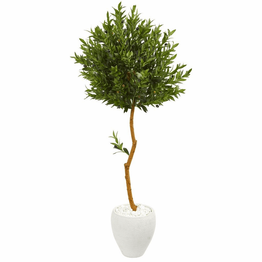 63� Olive Topiary Artificial Tree in White Planter UV Resistant (Indoor/Outdoor)