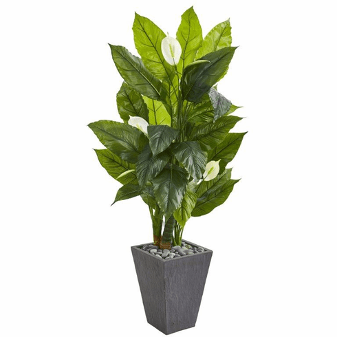 "63"" Spathyfillum Artificial Plant in Slate Planter (Real Touch)"