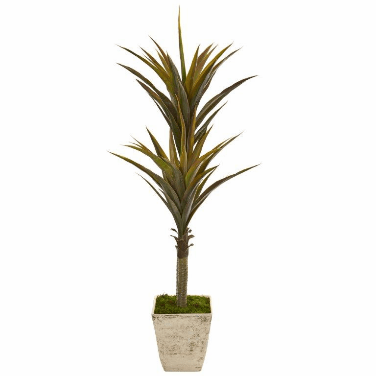63� Yucca Artificial Tree in Country White Planter